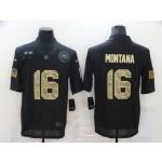Nike 49ers #16 Joe Montana Black Camo 2020 Salute To Service Limited Jersey
