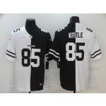 San Francisco 49ers #85 George Kittle Men's Black V White Peace Split Nike Vapor Untouchable Limited NFL Jersey