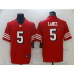 Nike 49ers #5 Trey Lance Red 2021 Draft Color Rush Vapor Limited Jersey