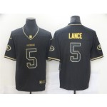 San Francisco 49ers #5 Trey Lance Black Gold Vapor Limited Jersey