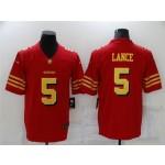 San Francisco 49ers #5 Trey Lance Throwback Red God Vapor Limited Jersey