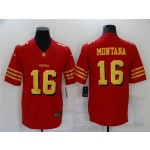San Francisco 49ers #16 Joe Montana Throwback Red God Vapor Limited Jersey