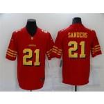 San Francisco 49ers #21 Deion Sanders Throwback Red God Vapor Limited Jersey