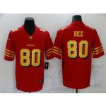 San Francisco 49ers #80 Jerry Rice Throwback Red God Vapor Limited Jersey