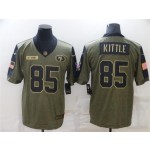 San Francisco 49ers #85 George Kittle 2021 Olive Salute To Service Limited Jersey