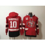 NFL San Francisco 49ers #10 Jimmy Garoppolo Red All Stitched Hooded Sweatshirt