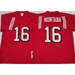 NFL San Francisco 49ers #16 Joe Montana Red M&N Throwback 75th Jersey