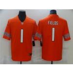 Men's Chicago Bears #1 Justin Fields Orange 2021 NFL Draft Vapor Limited Jersey