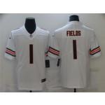 Men's Chicago Bears #1 Justin Fields White 2021 NFL Draft Vapor Limited Jersey