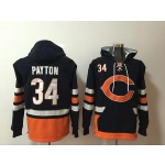NFL Chicago Bears #34 Walter Payton Navy Blue All Stitched Hooded Sweatshirt