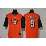 Nike Bengals #9 Joe Burrow Orange Team Big Logo Vapor Untouchable Limited Jersey