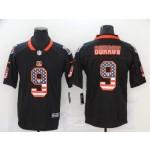 NFL Bengals #9 Joe Burrow Black Salute To Service USA Flag Fashion Limited Jersey