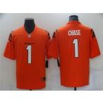 Men's Cincinnati Bengals #1 Ja'Marr Chase Orange 2021 NFL Draft Vapor Limited Jersey