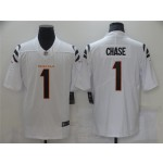 Men's Cincinnati Bengals #1 Ja'Marr Chase White 2021 NFL Draft Vapor Limited Jersey