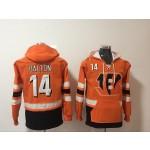 NFL Cincinnati Bengals #14 Andy Dalton Orange All Stitched Hooded Sweatshirt