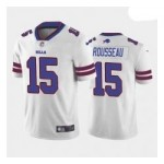 Men's Buffalo Bills #15 Gregory Rousseau White Blue 2021 NFL Draft Vapor Limited Jersey