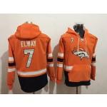 NFL Denver Broncos #7 John Elway Orange All Stitched Hooded Sweatshirt