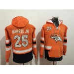 NFL Denver Broncos #25 Chris Harris Jr Orange All Stitched Hooded Sweatshirt