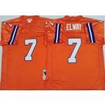 NFL Broncos #7 John Elway Orange M&N Throwback Jersey