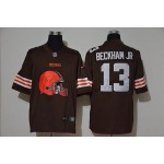 NFL Browns #13 Beckham Jr Brown Team Big Logo Vapor Untouchable Limited Jersey
