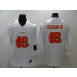 Nike Browns #13 Odell Beckham Jr. White Shadow Logo Limited Jersey