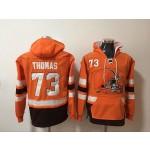 NFL Cleveland Browns #73 Joe Thomas Orange All Stitched Hooded Sweatshirt