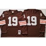 NFL Throwback Cleveland Browns Bernie Kosar #19 Brown Long sleeves  Jersey