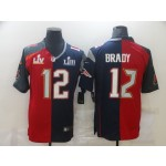 Nike Buccaneers & Patriots #12 Tom Brady Men's Red Navy Blue Limited NFL 2020-2021 super bowl Jersey