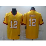 Nike Men's Buccaneers #12 Tom Brady Yellow Stitched NFL Limited Rush new Jersey