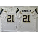 NFL Chargers #21 LaDainian Tomlinson White M&N Throwback Jersey