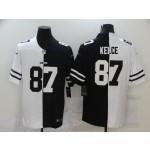 NFL Kansas City Chiefs #87 Travis Kelce Men's Black V White Peace Split Nike Vapor Untouchable Limited Jersey