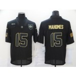 Nike Chiefs #15 Patrick Mahomes Black 2020 Salute To Service Limited Jersey