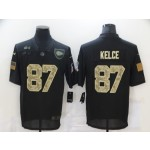 Nike Chiefs #87 Travis Kelce Black Camo 2020 Salute To Service Limited Jersey
