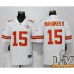 Men's Kansas City Chiefs #15 Mahomes ll White Super Bowl LV 2021 Vapor Untouchable Player Nike Limited NFL Jerseys