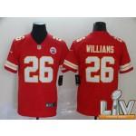 Men's Kansas City Chiefs #26 Williams Red Super Bowl LV 2021 Vapor Untouchable Limited NFL Jersey