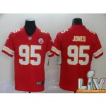 Men's Kansas City Chiefs #95 Jones Red Super Bowl LV 2021 Vapor Untouchable Limited NFL Jersey