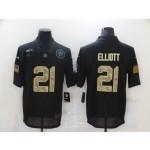 Nike Cowboys #21 Ezekiel Elliott Black Camo 2020 Salute To Service Limited Jersey