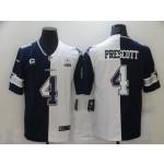 Nike Cowboys #4 Dak Prescott Black And White Split Est 1960 Patch Vapor Untouchable Limited Jersey