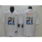 Dallas Cowboys #21 Ezekiel Elliott White Rainbow Vapor Limited Jersey