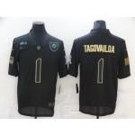 Nike Dolphins #1 Tua Tagovailoa Black 2020 Salute To Service Limited Jersey