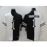 Nike Dolphins #1 Tua Tagovailoa Black And White Split Vapor Untouchable Limited Jersey