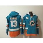 NFL Miami Dolphins #13 Dan Marino Green All Stitched Hooded Sweatshirt
