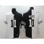 NFL Philadelphia Eagles #11 Carson Wentz Men's Black V White Peace Split Nike Vapor Untouchable Limited Jersey
