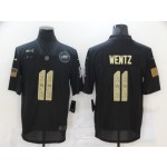 Nike Eagles #11 Carson Wentz Black Camo 2020 Salute To Service Limited Jersey