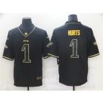 Philadelphia Eagles #1 Jalen Hurts Black Gold Vapor Limited Jersey