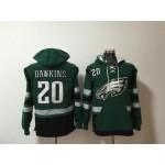 NFL Philadelphia Eagles #20 Brian Dawkins Green All Stitched Hooded Sweatshirt