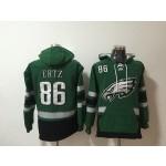 NFL Philadelphia Eagles #86 Zach Ertz Green All Stitched Hooded Sweatshirt