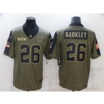 New York Giants #26 Saquon Barkley 2021 Olive Salute To Service Limited Jersey