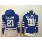 NFL New York Giants #21 Landon Collins Blue All Stitched Hooded Sweatshirt