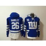 NFL New York Giants #26 Saquon Barkley Blue All Stitched Hooded Sweatshirt